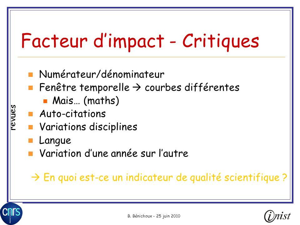 Facteur d'impact - Critiques