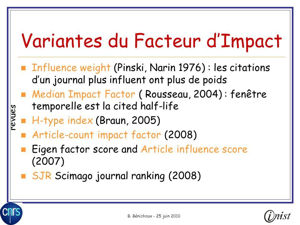 Variantes du Facteur d'Impact