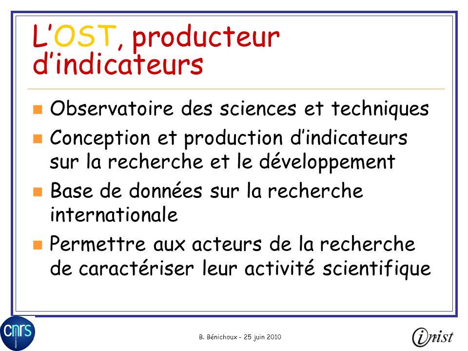 L'OST, producteur d'indicateurs