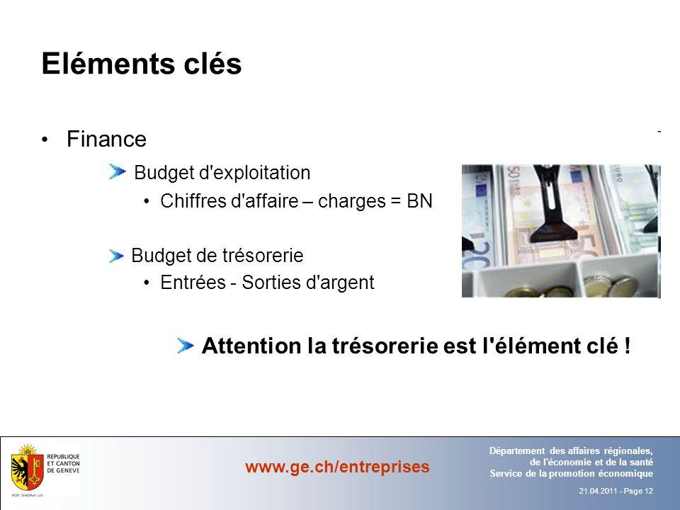 Eléments clés Finance Budget d exploitation