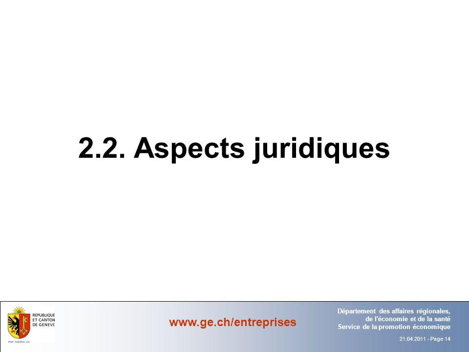 2.2. Aspects juridiques Département Office