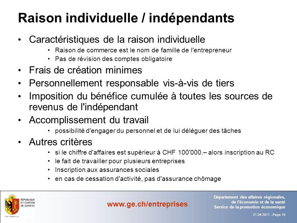 Raison individuelle / indépendants