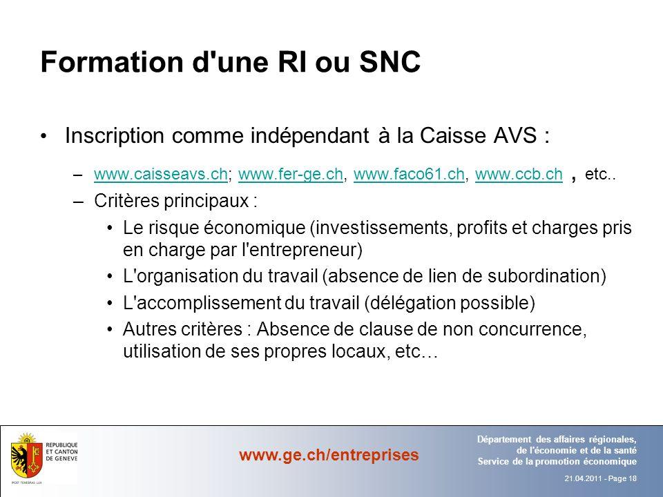 Formation d une RI ou SNC