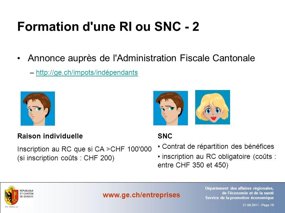 Formation d une RI ou SNC - 2