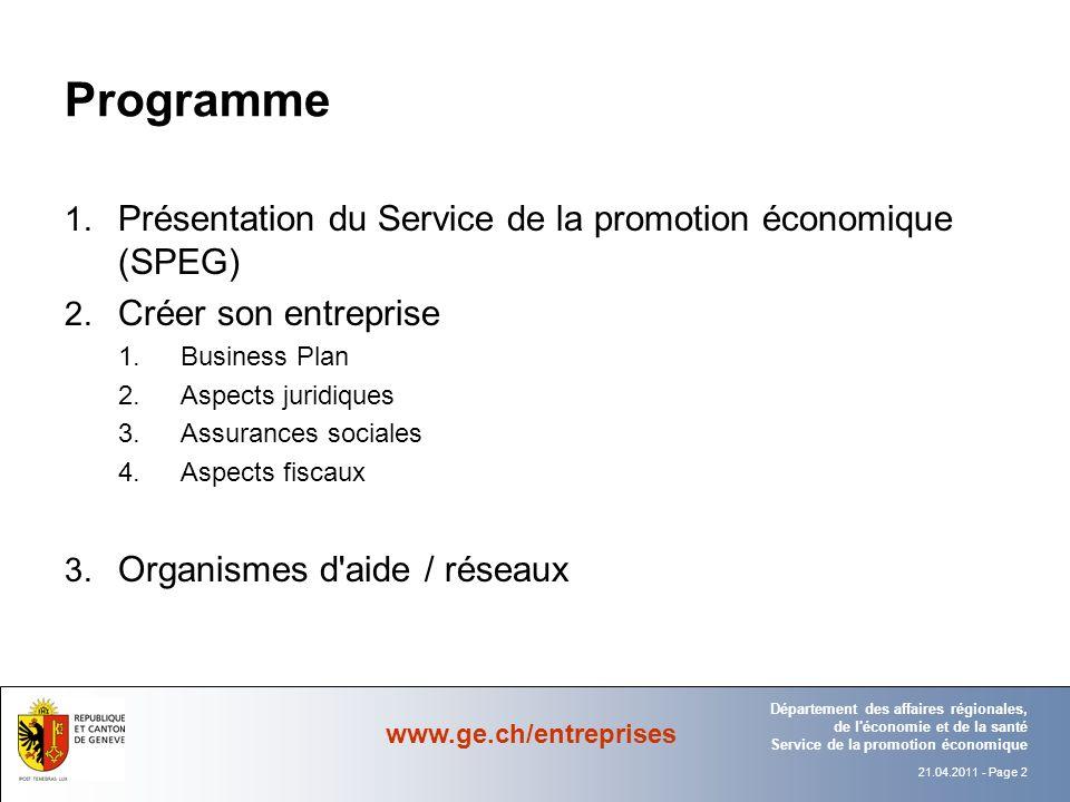 Programme Présentation du Service de la promotion économique (SPEG)
