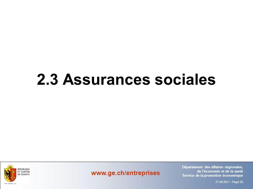 2.3 Assurances sociales Département Office