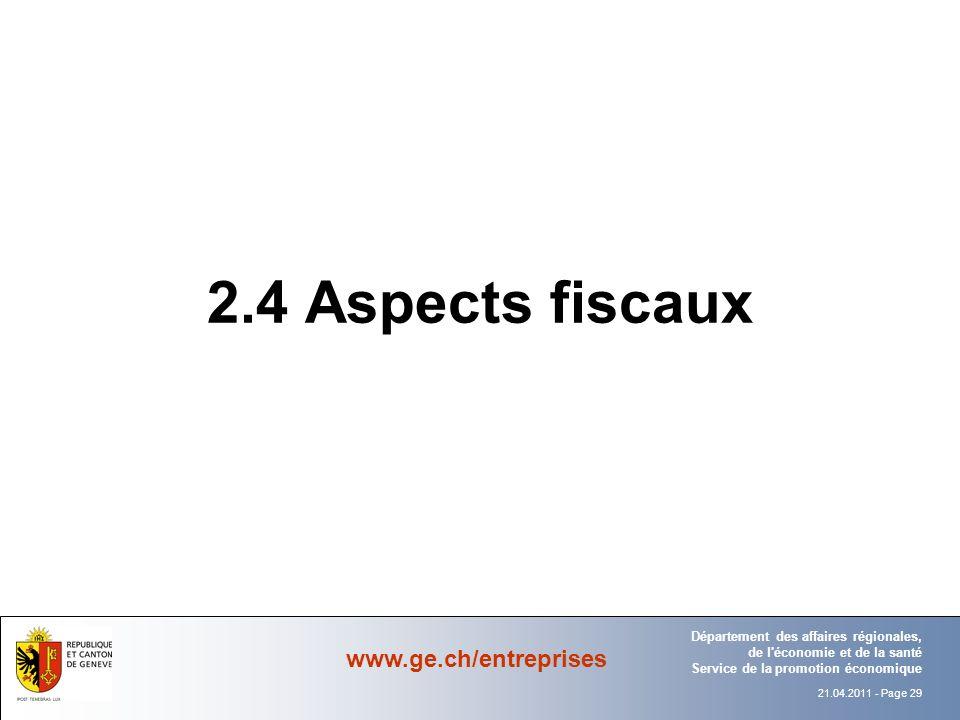2.4 Aspects fiscaux Département Office