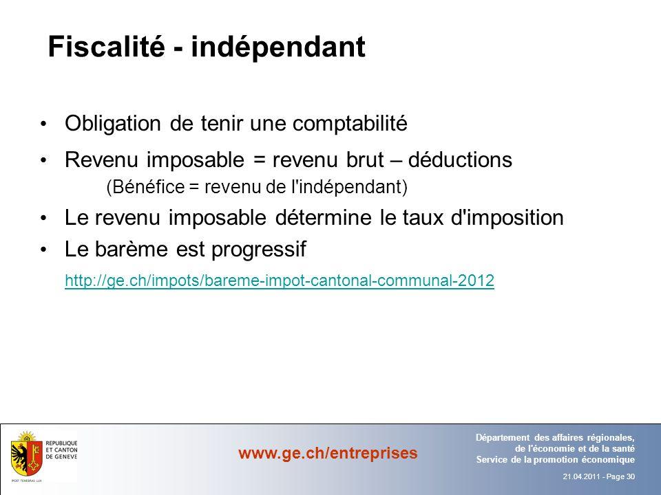 Fiscalité - indépendant