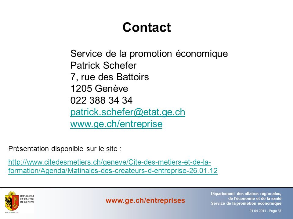 Contact Service de la promotion économique Patrick Schefer