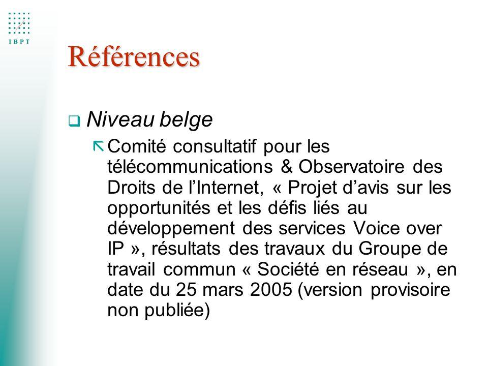 Références Niveau belge