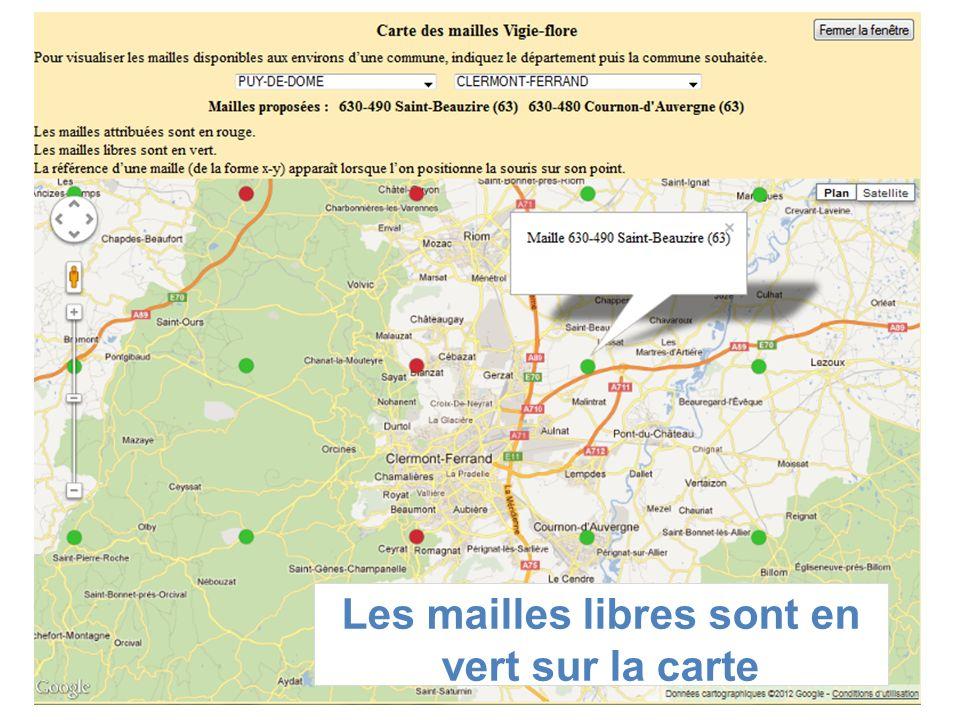 Les mailles libres sont en vert sur la carte