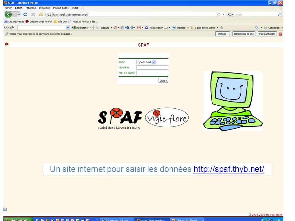 Un site internet pour saisir les données http://spaf.thyb.net/