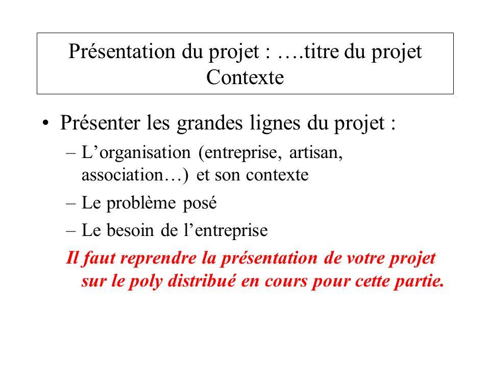 Présentation du projet : ….titre du projet Contexte
