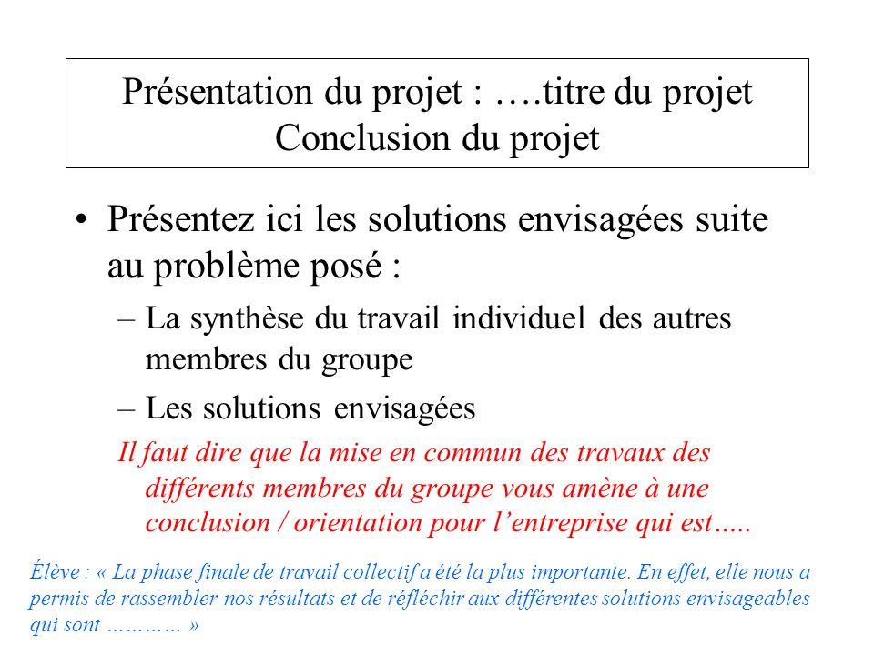 Présentation du projet : ….titre du projet Conclusion du projet