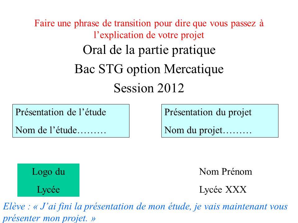 Oral de la partie pratique Bac STG option Mercatique Session 2012