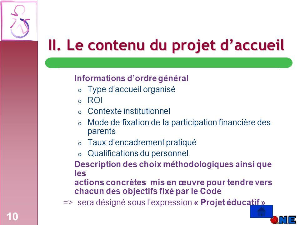II. Le contenu du projet d'accueil