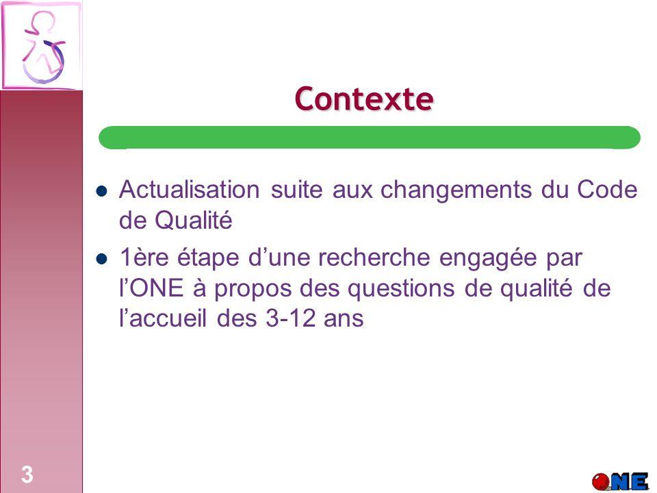 Contexte Actualisation suite aux changements du Code de Qualité