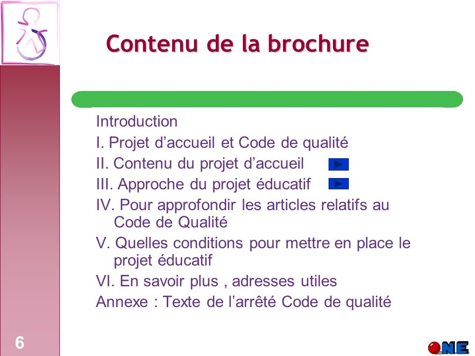Contenu de la brochure Introduction