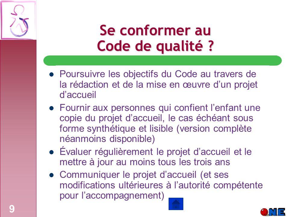 Se conformer au Code de qualité