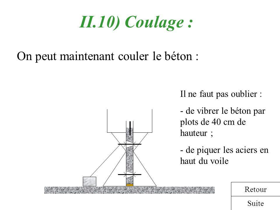 II.10) Coulage : On peut maintenant couler le béton :