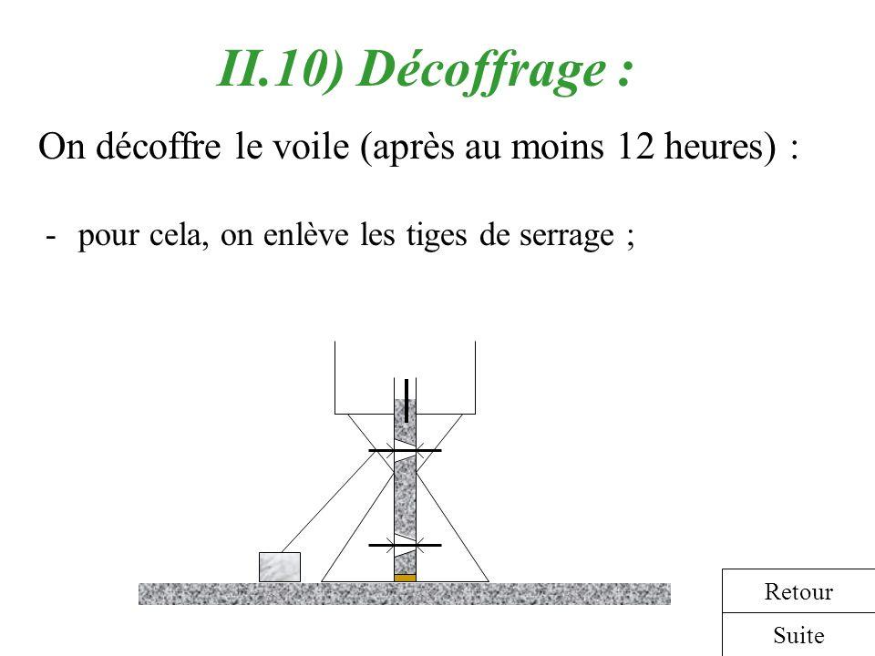 II.10) Décoffrage : On décoffre le voile (après au moins 12 heures) :