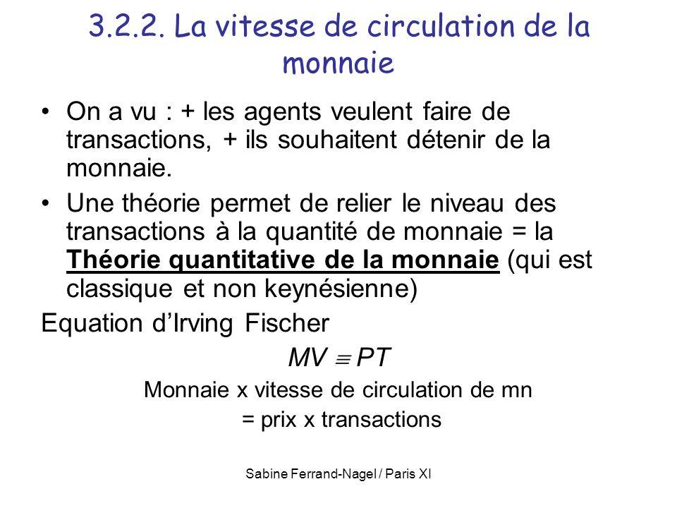 3.2.2. La vitesse de circulation de la monnaie