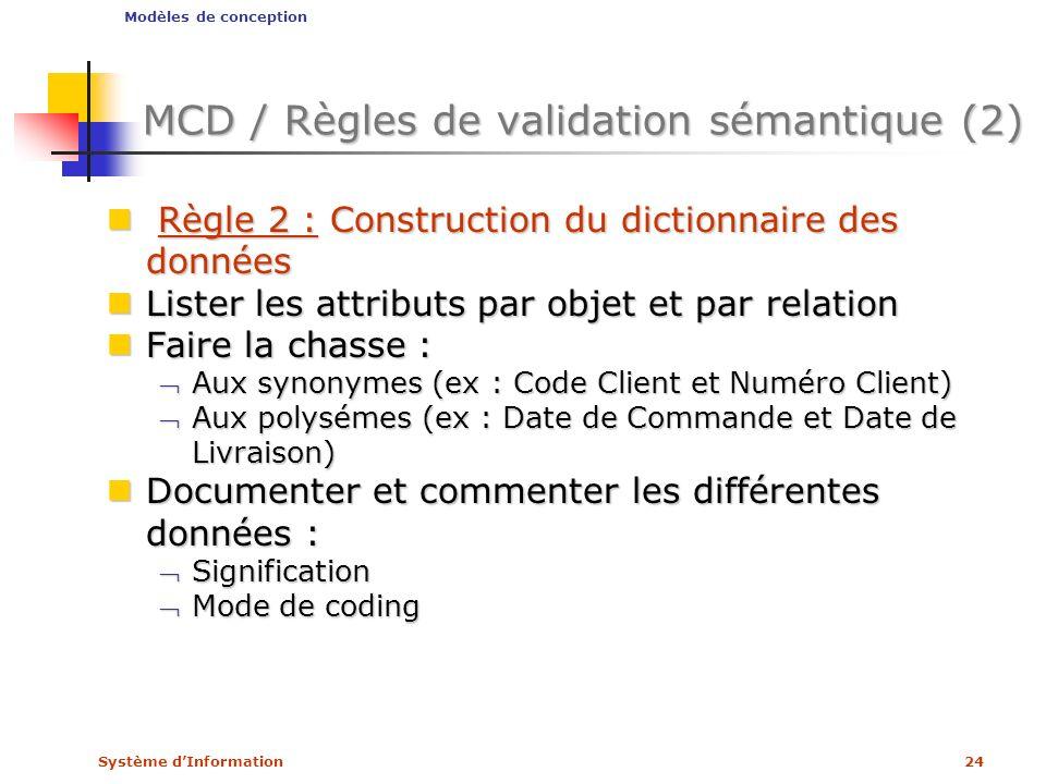 MCD / Règles de validation sémantique (2)