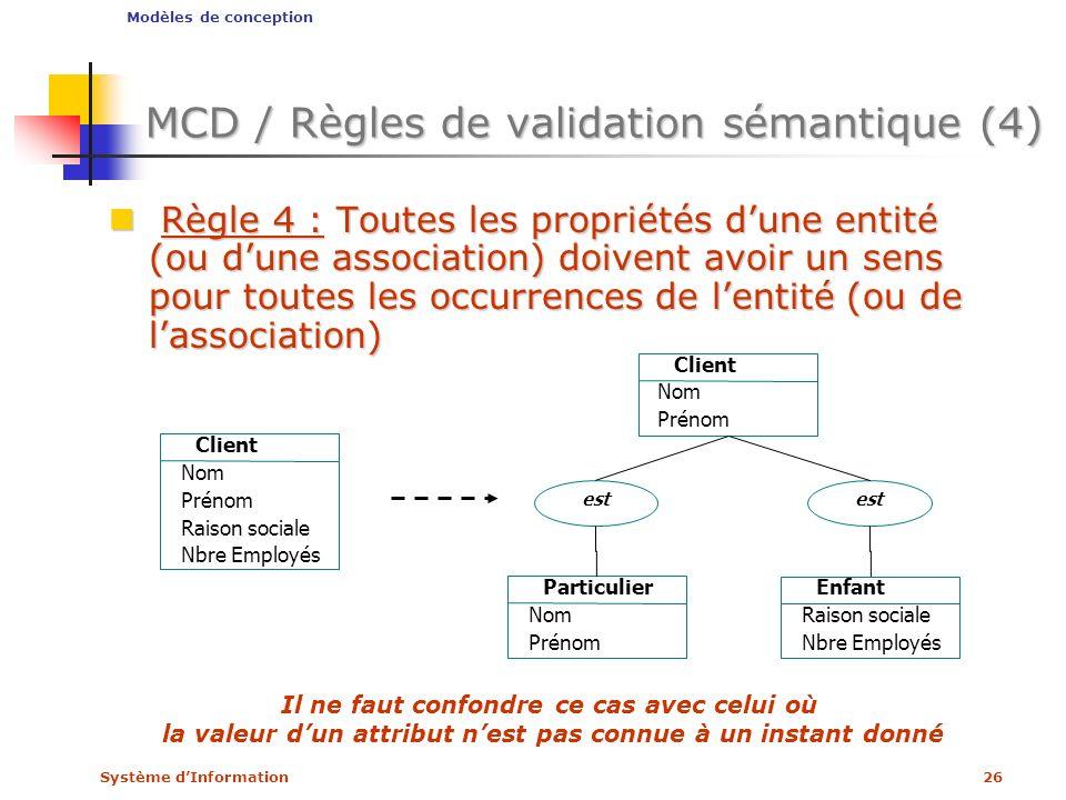 MCD / Règles de validation sémantique (4)