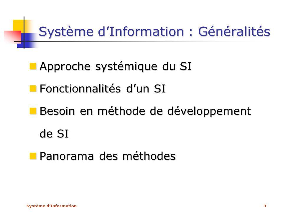 Système d'Information : Généralités