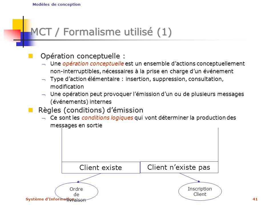 MCT / Formalisme utilisé (1)