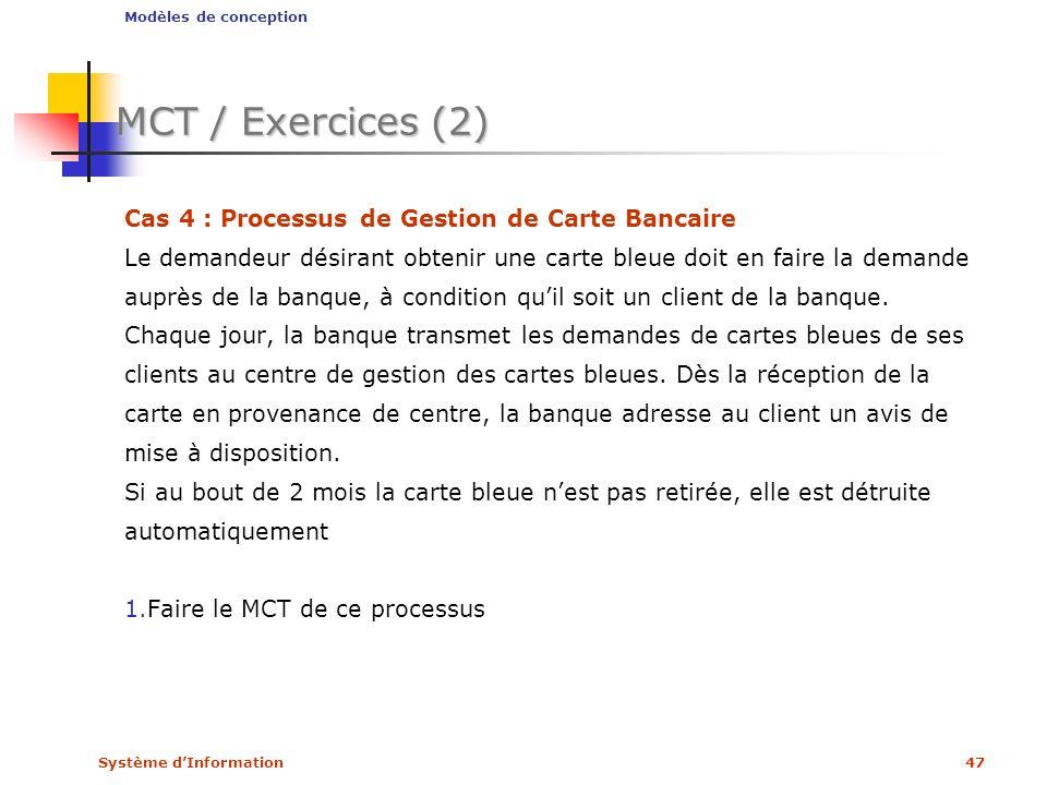 MCT / Exercices (2) Cas 4 : Processus de Gestion de Carte Bancaire