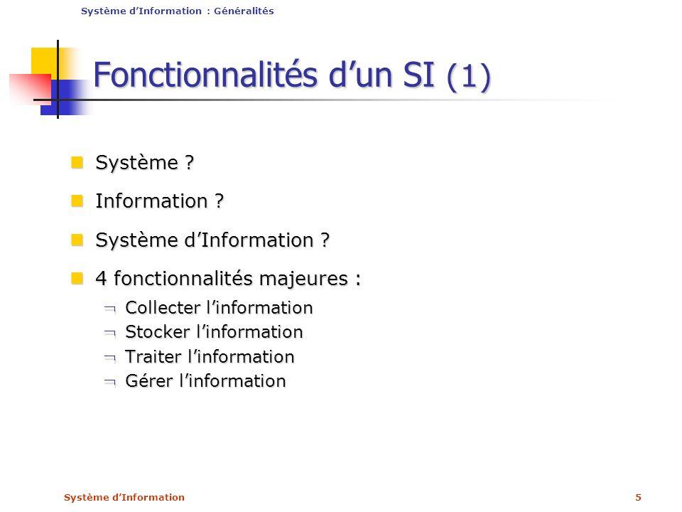 Fonctionnalités d'un SI (1)