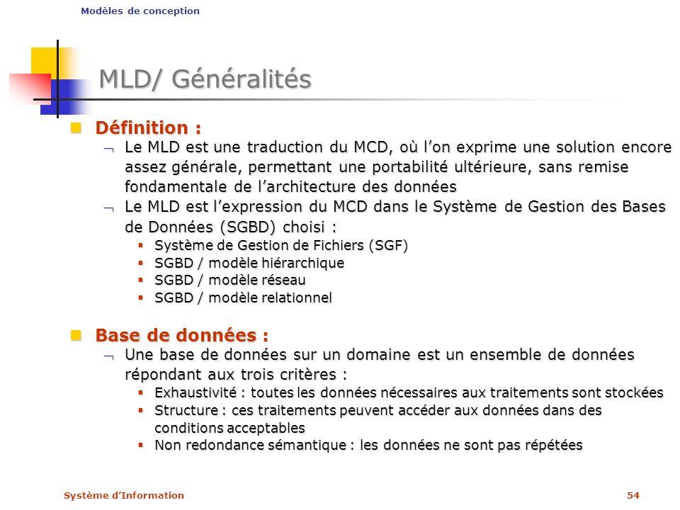 MLD/ Généralités Définition : Base de données :