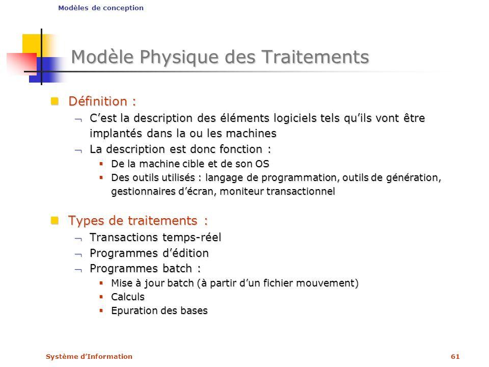 Modèle Physique des Traitements