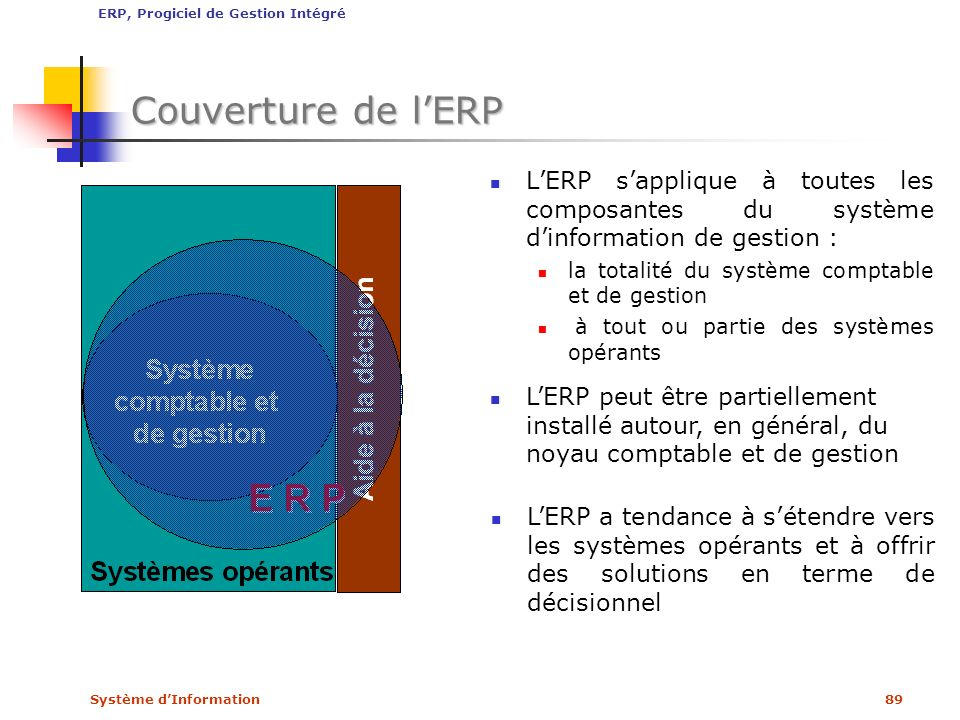 ERP, Progiciel de Gestion Intégré