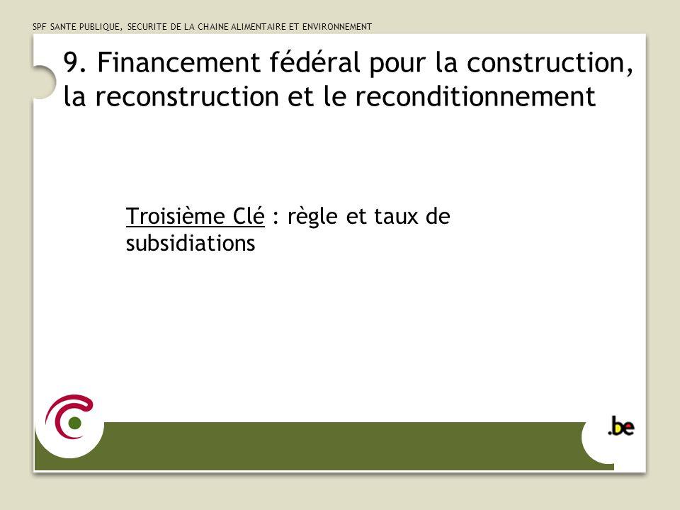 9. Financement fédéral pour la construction, la reconstruction et le reconditionnement