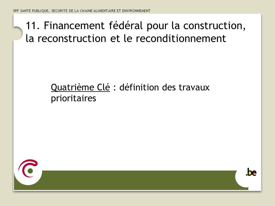 11. Financement fédéral pour la construction, la reconstruction et le reconditionnement