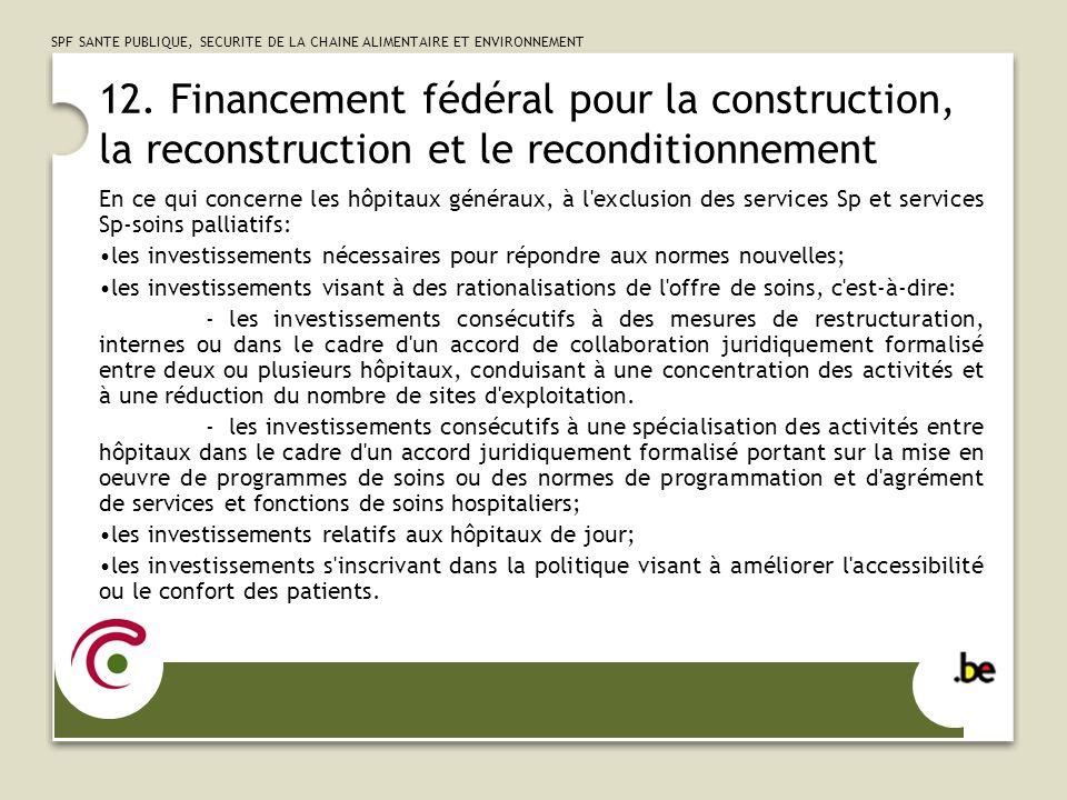 12. Financement fédéral pour la construction, la reconstruction et le reconditionnement