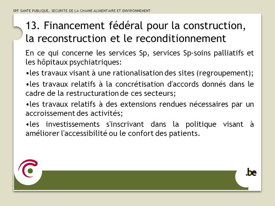 13. Financement fédéral pour la construction, la reconstruction et le reconditionnement