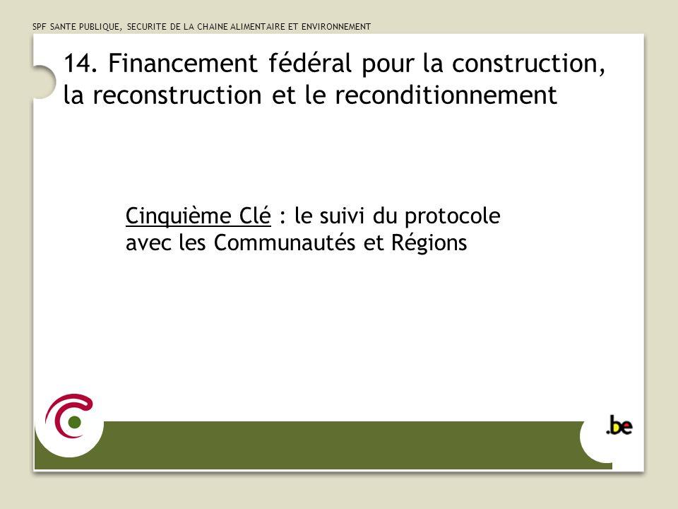 14. Financement fédéral pour la construction, la reconstruction et le reconditionnement