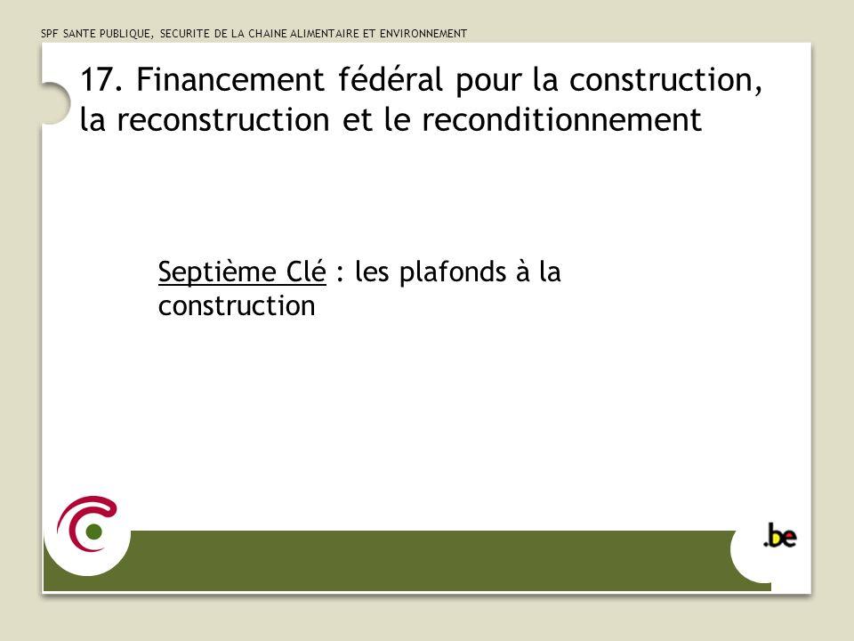 17. Financement fédéral pour la construction, la reconstruction et le reconditionnement