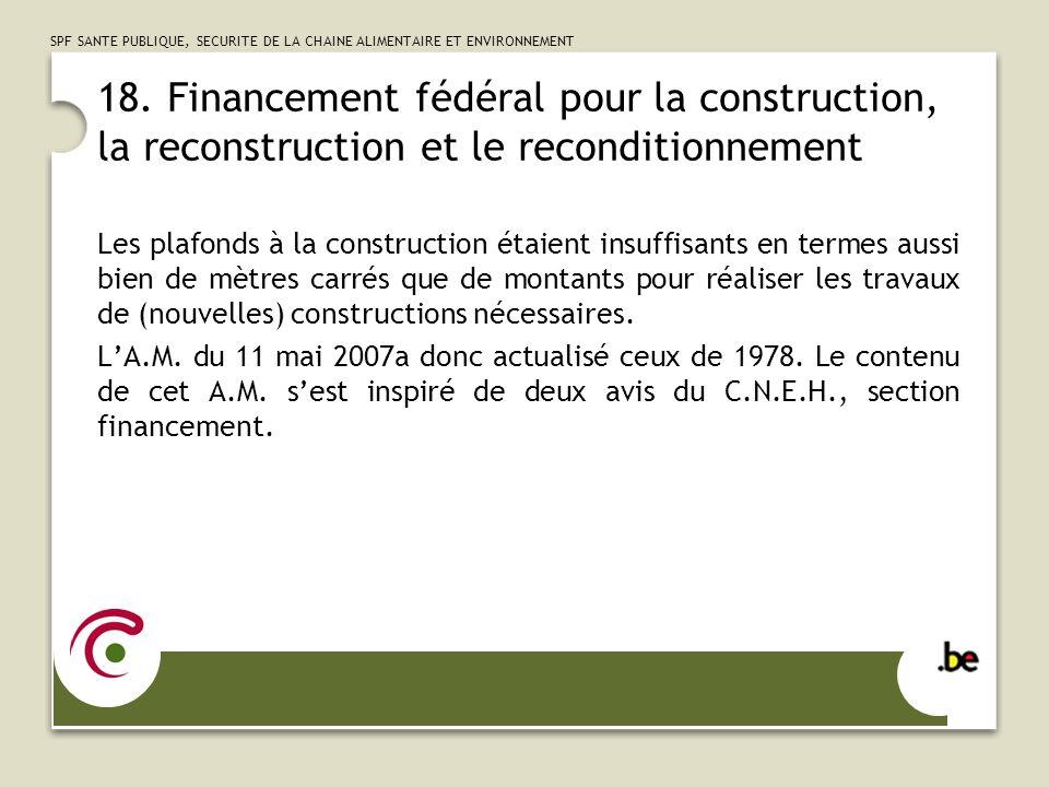 18. Financement fédéral pour la construction, la reconstruction et le reconditionnement
