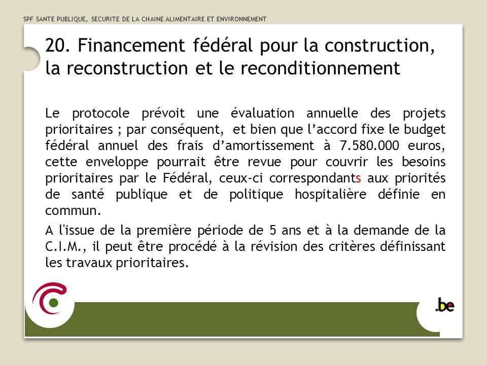 20. Financement fédéral pour la construction, la reconstruction et le reconditionnement