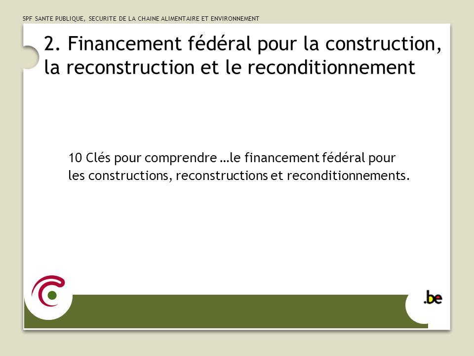 2. Financement fédéral pour la construction, la reconstruction et le reconditionnement
