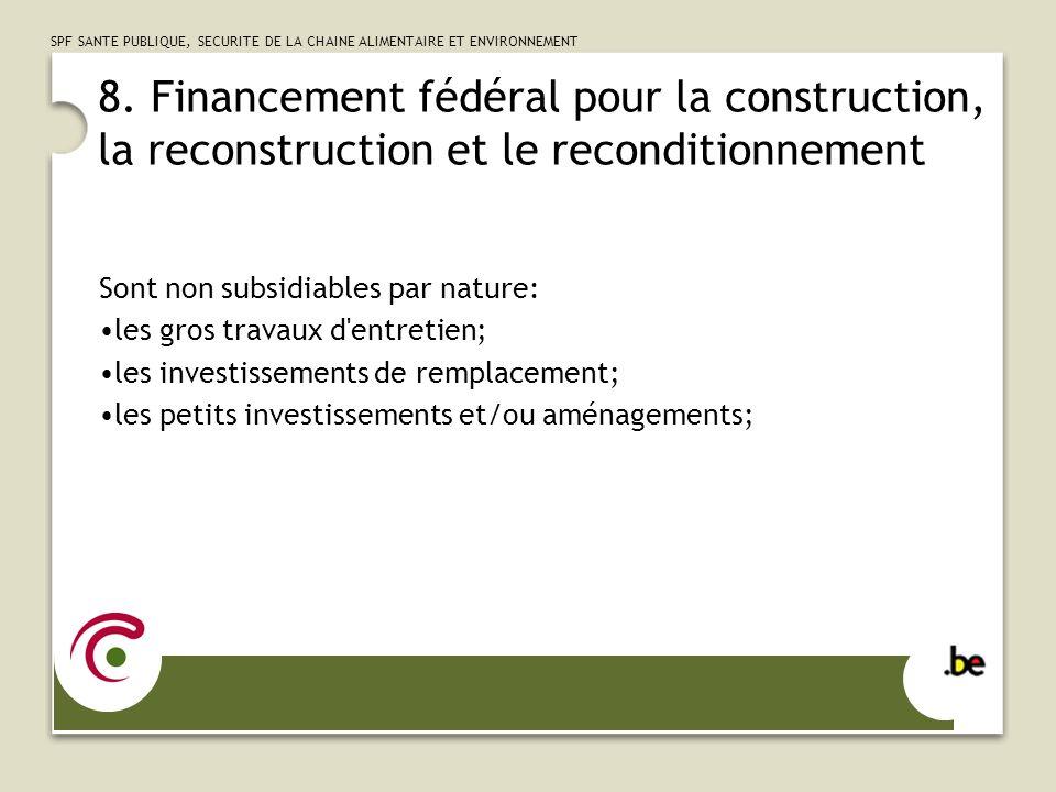 8. Financement fédéral pour la construction, la reconstruction et le reconditionnement
