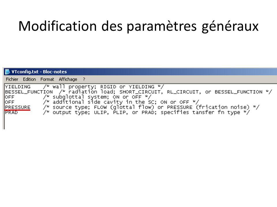 Modification des paramètres généraux