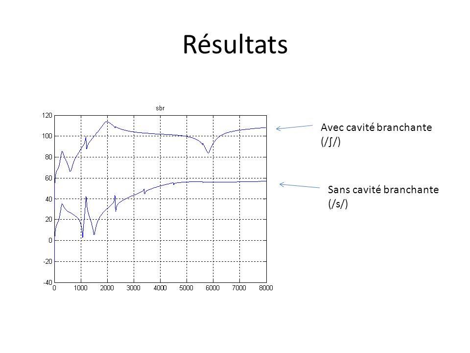 Résultats Avec cavité branchante (/∫/) Sans cavité branchante (/s/)