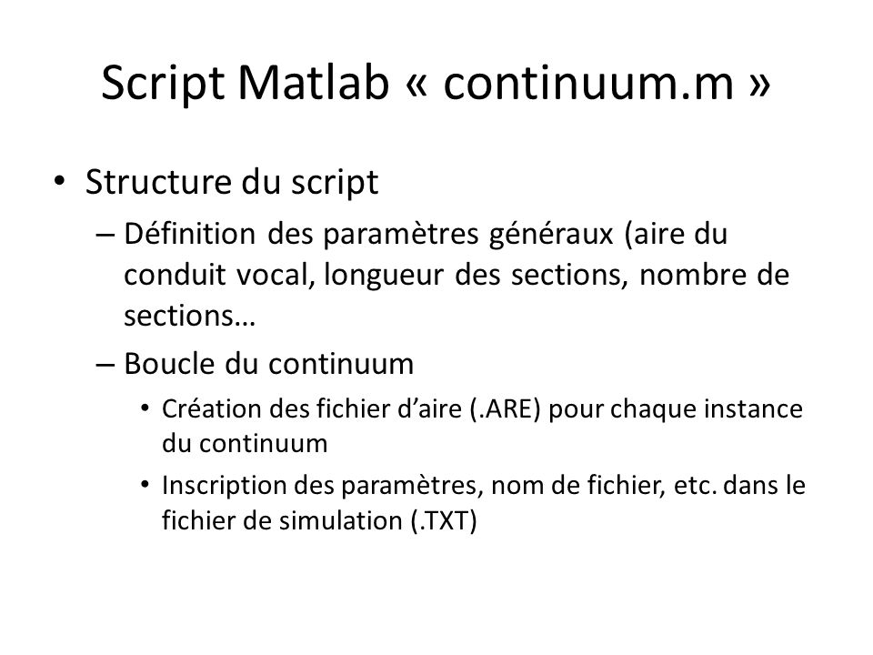 Script Matlab « continuum.m »