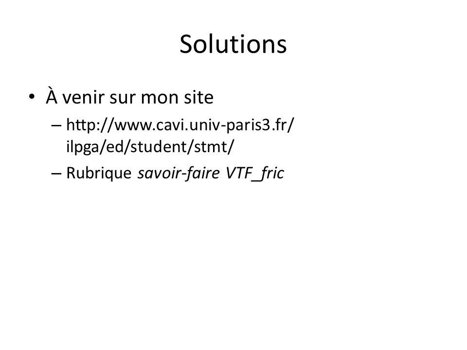 Solutions À venir sur mon site