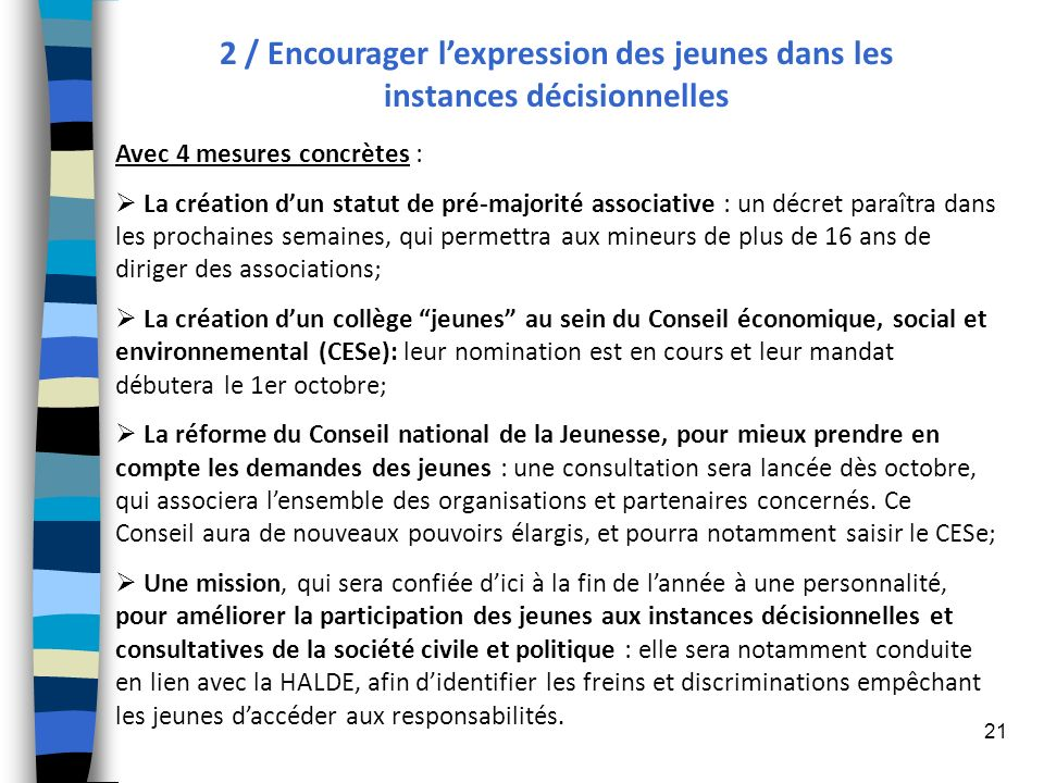2 / Encourager l'expression des jeunes dans les instances décisionnelles